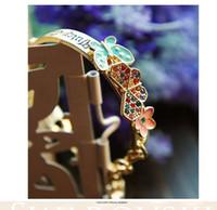 ouro da borboleta do jade venda por atacado-Diamante De Ouro Manguito Pulseiras Amor Flor De Cristal Borboleta Coração De Ouro Flor Cor De Cristal Borboleta Pulseira Pulseira DHL