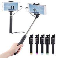 iphone 5s selbstbewusstsein großhandel-Luxus Wired Selfie Stick Ausziehbarer Handheld Monopod Fold Selbstporträt Halter für IPhone 5S 6 6S 7 Plus Selfi Stik MOQ; 50PCS