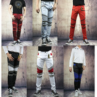 Wholesale American Flag Men Pants - Fashion Robin Zipper Jeans Men Classic Biker Jeans Wash Studded Cowboy Slim Denim Trousers with Wings American Flag Jean Mens Skinny Pants