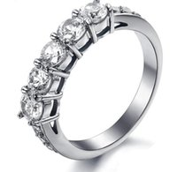 Wholesale Tungsten Diamond Bands - Fashion NEW JEWELRY AAA CZ Diamond Wedding Bands Titanium Steel Couple Ring Decorate Clear Austrian crystal 7645