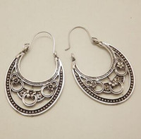 Wholesale Filigree Black Earrings - Retro Antique Tibet Silver Vine Hollow Filigree Vintage Earrings For Women Girls Wholesale NEW Arrival Jewelry