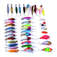 Wholesale Assorted Sequins - 39pcs lot Minnow Sequins Spinner Bait Fly Fishing Hard Bait Wobbler Carp 6 Size Assorted Colors Fishing Tackle Set