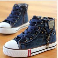 ingrosso scarpe da ragazzi 8.5-14 tipi Nuovo formato arrivato 25-37 Scarpe per bambini Bambini Sneakers di tela Ragazzi Jeans Appartamenti Ragazze Stivali Denim scarpe cerniera laterale