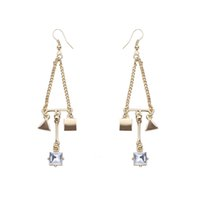Barato Brincos De Ouro 24k Banhados Pendem-Triangle Square Geometry Zircon Crystal Earrings Celebrity Same Paragraph Statement Jóias Rhinestone Dangle Earrings 24K Gold Plated