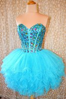 Wholesale Size 26 Ball Gown - Ball Gown Graduation Dresses Sweetheart Tulle Tiers Short Graduation Gowns Blue 2016 new Homecoming Dresses mo 26