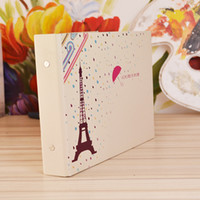 Wholesale wood paris online - Corner Posted Photo Album Inch Paper Paris In The Rain Creative Design DIY Stickers Scrapbooking zo F R