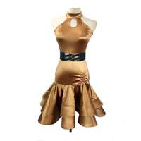 Wholesale gold latin dress - cad167- New Gold Color Sleeveless Women Latin Dancing Dress Latin Dance Costumes Women Chacha Tango Rumba Costume Free Shipping