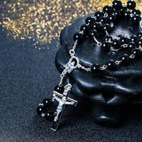 perlenkette jesus großhandel-Neue Halskette Schwarze Perle Jesus Kreuz Kette David Beckham Rosenkranz Anhänger Halskette Hip Hop Schmuck