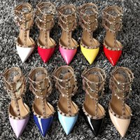 Wholesale White Wedding Low Heel Sandal - New Arrival High Heels Pointed Toes Summer Sandals For Women Buckle Strap Rivets Heel Cheap Wedding Bridal Shoes