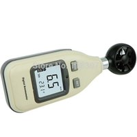 Wholesale Wind Gauge Meter - Wholesale-10pcs lot FreeShipping GM816A 30m s (65MPH) LCD Digital Hand-held Wind Speed Gauge Meter Measure Anemometer Thermometer