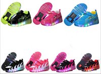 Wholesale Wheeling Shoes For Kids - Children Shoes With Light With wheels Skate Boys And Girls Casual LED Shoes For Kids 2017 LED Light Up 7 Colors Kids Shoes 28-35