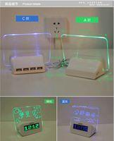 arayüz elektroniği toptan satış-Ücretsiz kargo whilesaleCreative ev hediyeler elektronik mesaj panosu çalar saat floresan USB arayüzü saat aydınlık sessiz saat izle