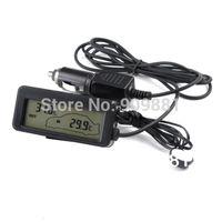 Wholesale Sensor Outside - Black DC12V Digital Car Thermometer Portable Car Inside Outside Temperature Meter Monitor Blue Backlit With 1.5M Cable Sensor