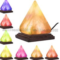 Wholesale Crystal Room Decor - Salt Lamp Table Desk Lamp Night Light Pyramid Crystal Rock Wooden Lamp Bedroom Adornment Home Room Decor Crafts Ornaments Gift MYY