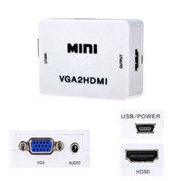 1080P Mini VGA para HDMI Audio Video Converter Box VGA2HDMI Adaptador para HDTV PC Laptop DVD Alta qualidade