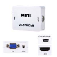 Wholesale Vga Converter Box - 1080P Mini VGA To HDMI Audio Video Converter Box VGA2HDMI Adapter For HDTV PC Laptop DVD High Quality