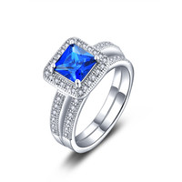 Wholesale Hot Selling Sterling Silver blue main stone rings set for women wedding fashion Jewelry CZ Diamond Cubic Zirconia Infinity Ring DL39200L