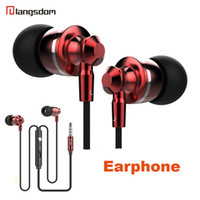 Wholesale Iphone Ear Plugs - Extrabass power in ear Definition 3.5mm Plug Metal Headphone Headset Langston M300 Metal Earphone with mic iphone 6 Samsung MP3 Cellphone