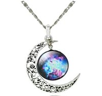 Wholesale Galaxy Cosmic - Galaxy Necklace Hollow Out Crescent with Blue Purple Star Galactic Cosmic Moon Charm Necklace Wedding Necklace