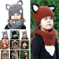 Wholesale Children S Winter Capes - Children 's hat rabbit shawl autumn and winter scarf pure handmade wool hat ear Warm hat cape baby Hats are used for both IB417