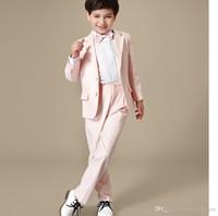 Wholesale Dress Suits For Little Boys - 2016 hot sale little boy suits for wedding suits black handsome Children suit marriage wedding dress boy suits two-piece