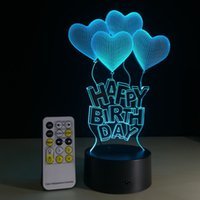 Wholesale Via Christmas Lights - Happy Birthday with Heart Frame Touch Screen 3D illusion took toy flash light in via DHL box free shipping