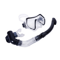 Wholesale Diving Equipment Set - Scuba 4mm Toughened Tempered Glass Diving Mask Goggles Swimming Diving Snorkeling Equipment+ Full Dry Snorkel Set 4 Colors