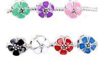 charmes de colonne achat en gros de-Livraison gratuite! Perles de charme européen émail argenté de colonne 7 couleurs sakura / fleur de cerisier fleur 12x11mm, Trou: Environ 4.8mm, 10PC (K00720)