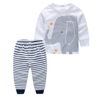 Wholesale Wholesale Novelty Elephants - PrettyBaby 2016 summer baby clothing sets shirts+trousers elephant printed stripe style baby household clothes free shipping