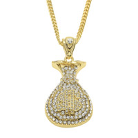 "Wholesale Money Bag Pendants - 18K Gold Silver Plated Iced Out Micro Pave Set Cz Glitter Cash Money Bag $ Pendant 28"" Cuban Chain Hip Hop Necklace"
