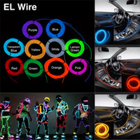 Wholesale Big Toys Meter - EL Wire 3 Meters Rope Tube Cable DIY Led Strip String Lights Flexible Neon Glow Light For Party Car Interior Decoration Dance