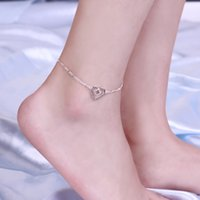Wholesale Titanium Anklets - Heart pendants Styles Charms 925 pure Silver anklets A022 feet foot wear Fashion Trendy Nice Summer Wearing Jewelry Brand
