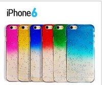 iphone raindrops оптовых-8 цветов для iphone6 3D градиент эффект Радуга капли дождя капли прозрачный силиконовый чехол для телефона