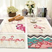 Wholesale Tea Table Mats - Flamingo Linen Table Napkins Mat Dinning Room Pad Heat Insulation Placemat Kitchen Tea Towels Wedding Christmas Home Decor OOA3382