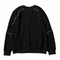 jerseys de baile al por mayor-Hiphop Street Dance Hombre suelto O-cuello negro sudaderas con capucha Diseño creativo Decoración de la cremallera Patchwork sudaderas Otoño Tops