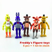 Wholesale Top Toy Figures - top sale 14cm #5 Five Nights At Freddy's fnaf Freddys figure With Lighting PVC Action Figures Toys Foxy Freddy Fazbear Bear Doll 5pcs set