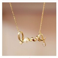 Pendant Necklaces black bijou - Rhinestone Crystal Promotion Bijou Gold Love Letter Necklace