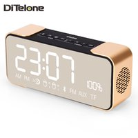 Großhandel-DiTelone PTH-305 Bluetooth-Lautsprecher Wireless-Stereo-Musik-Player Portable Mini FM Radio Zeit Wecker TF-Karte AUX