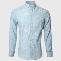 Wholesale Elegant Men S Shirts - Wholesale-Floral Shirts Men Hawaiian Denim Long Sleeve Shirt Cowboy Man Elegant Cotton Polyester Turn Down Collar Social Clothes