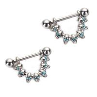 Wholesale Gem Skulls - 3 Pair Skull Nipple Piercing Bar Shield Barbell Ring Jewel Gem Design Surgical Steel 16G for Women Body Jewelry