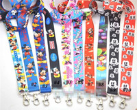 Wholesale Minnie Lanyard - 10pcs Mickey Minnie Lanyard with Keychain For Key ID Mobile Phone Key Chain Random Color Free Shipping