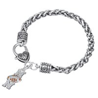 Wholesale Crystal Football Charms - Free shipping Crystal Paved Football Mom Charm Bracelet Sports Jewelry