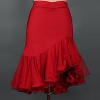 salsa tanz kleider mädchen groihandel-Kostenloser Versand Red Adult / Mädchen Latin Dance Kleid Salsa Tango Cha Cha Ballsaal Wettbewerb Practice Group Dance Rock Unregelmäßige Fischschwanz Rock