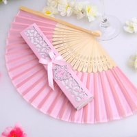 Wholesale Paper Bags Pink Handles - Wholesale Free Shipping Mix Color Personalized Printing Engrave Logo On Ribs Wooden Bamboo Hand Silk Wedding Fans+Gift Box Organza Bag