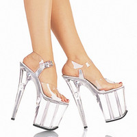 Wholesale Silver Soft Dancing Shoes - Full Clear Crystal 20CM Super High Heel Platforms Pole Dance   Performance   Star   Model Shoes, Wedding Shoes