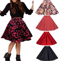 Wholesale Blue Polka Dot Skirt - FREE SHIPPING 2016 FASHION DRESS Women Pleated Vintage Skirts Floral Print Midi Skirt 9 COLORS SIZE S-2XL