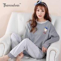 Wholesale Girls Striped Pyjamas - Pyjamas women New Korean loose pajamas round neck knitted cotton long sleeves striped trousers home girls pajamas sets