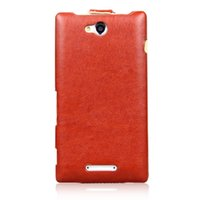 Wholesale Xperia C Mobile Cover - pouch camera Case for Sony Xperia C2305 High Quality Vertical Flip Leather Case Cover Pouch for Sony Xperia C S39h mobile phone