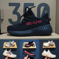 Wholesale Boys Striped - Baby Kids Run Shoes Kanye West SPLY 350 Running Shoes Boost V2 Children Athletic Shoes Boys Girls Sneakers Black Red Cream White Zebra