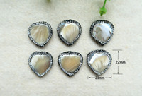 Wholesale 10Pcs Natural shell Heart Shape Bead Pave Rhinestone Connector Spacer Bead For DIY Making Bracelet necklace Jewelry BD36